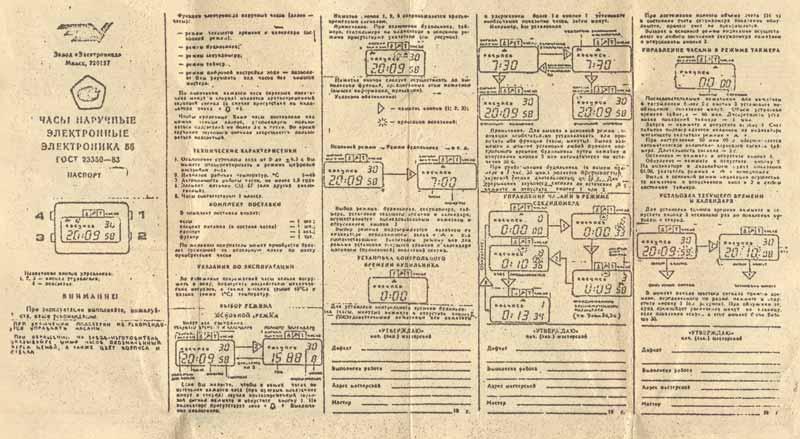 Электроника 55 описание, инструкция на часы