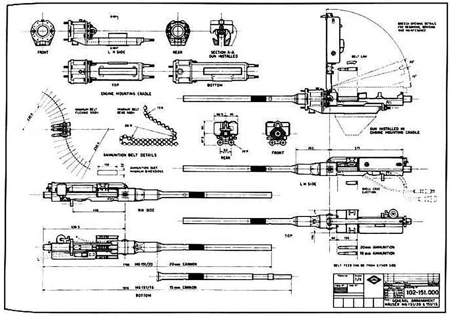 чертеж немецкой пушки MG 151